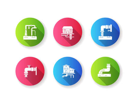 Drainage pipe system flat design long shadow glyph icons set. Home sanitation service. Pipeline structure for waste water. House utility. Pipe with liquid. Silhouette RGB color illustration