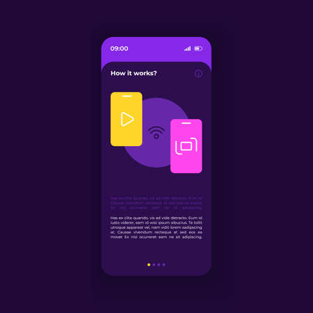 How it works smartphone interface vector template. Mobile app page dark purple design layout. Manual page screen. Flat UI for application. Advices on settings, explanation notes. Phone display