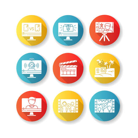 Video production flat design long shadow glyph icons set. Internet blogging. Personal event videography. Film making industry. Web streaming. Silhouette RGB color illustration