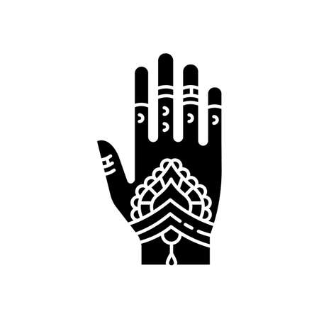 Mehndi black glyph icon. Indian tradition. Body art. Decorative designs. Henna drawings. Tattoo artwork. Asian culture. Bridal ceremony. Silhouette symbol on white space. Vector isolated illustration