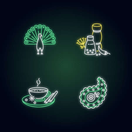 Indian culture neon light icons set. Peacock. Traditional cuisine. Masala chai. Paisley pattern. Spices and herbs. Signs with outer glowing effect. Vector isolated RGB color illustrations Illustration
