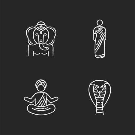 Indian culture chalk white icons set on black background. Lord Ganesha. Religious symbol. Sari dress. Traditional Hindu clothing. Yogi in turban. King cobra. Venomous snake. Isolated vector chalkboard