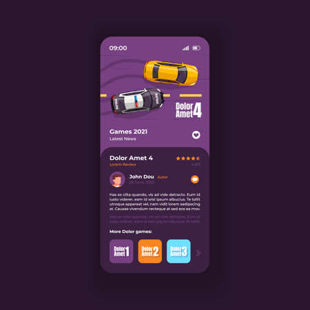 Car game review smartphone interface vector template. Racing videogame mobile app page dark design layout. Preview page, presentation screen. Flat UI for application. Description on phone display