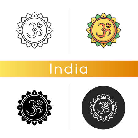 Om icon. Aum visual representation. Sacred syllable. Sound of universe. Spiritual symbol in Hinduism. Indian religion. Divine energy. Linear black and RGB color styles. Isolated vector illustrations