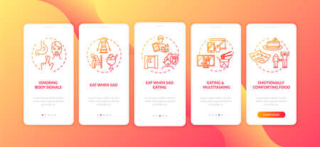 Ignoring body signals onboarding mobile app page screen with concepts. Eating when sad and multitasking walkthrough 5 steps graphic instructions. UI vector template with RGB color illustrations