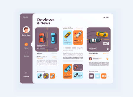 Car reviews and news tablet interface vector template. Mobile app page day mode design layout. User profile screen. Flat UI for application. Auto services and games ratings on portable device display