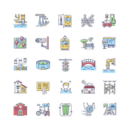 Urban infrastructure RGB color icons set. Public service. Traffic regulation light. Passenger transport. Stadium for show and event. Public bus stop. GPS map. Isolated vector illustrations