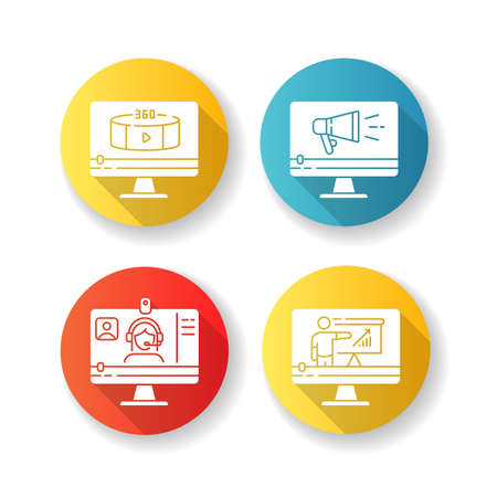 Internet video flat design long shadow glyph icons set. Online lesson watching. Web conference. 360 degree view footage. TV commercial. Silhouette RGB color illustration Illustration