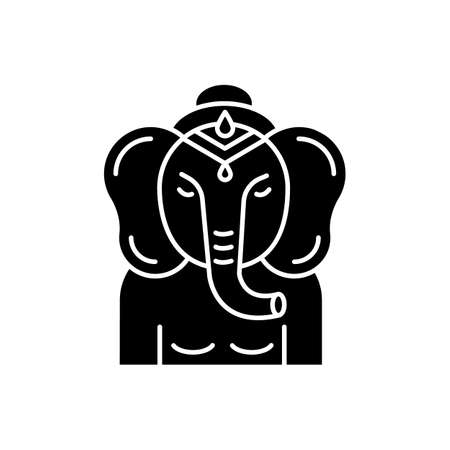 Lord Ganesha black glyph icon. Supreme deity in Hindu pantheon. Indian religion. Ancient tradition. Religious symbol. God of beginnings. Silhouette symbol on white space. Vector isolated illustration