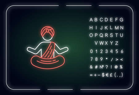 Yogi in turban neon light icon. Yoga. Physical and mental practices. Meditating monk. Outer glowing effect. Sign with alphabet, numbers and symbols. Vector isolated RGB color illustration