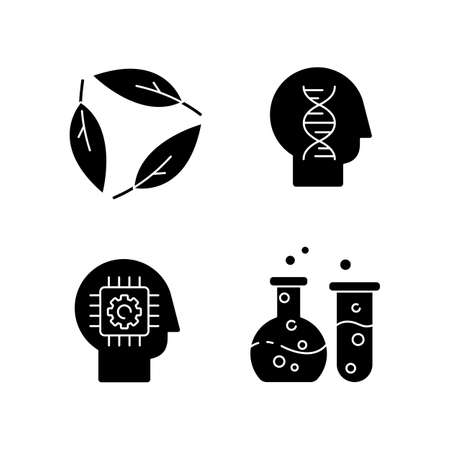 Modern sciences black glyph icons set on white space. Formal and natural scientific disciplines silhouette symbols. Human biology, ecology, cybernetics and chemistry. Vector isolated illustration