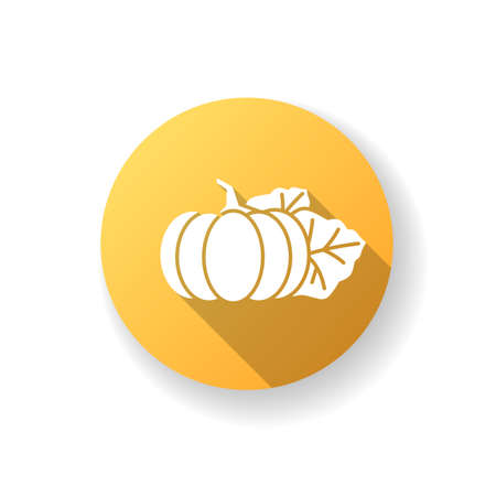Pumpkin yellow flat design long shadow glyph icon. Seasonal fresh vegetable. Nutrient gourd from farm market. Ripe whole autumnal veggie. October harvest product. Silhouette RGB color illustration 向量圖像