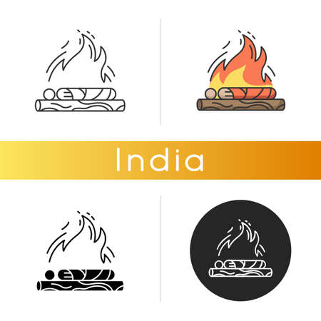 Hindu funeral ceremony icon. Indian customs. Antyesti ritual. Body cremation. Last sacrifice. Hinduism tradition. Linear black and RGB color styles. Isolated vector illustrations