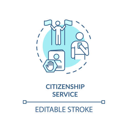 Citizenship service concept icon. Foreign country legal migration. Country resident document application idea thin line illustration. Vector isolated outline RGB color drawing. Editable stroke