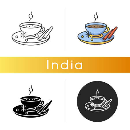 Masala chai icon. Indian tea with spices and herbs. Traditional drink. Flavoured hot beverage. Cocoa with cinnamon. Morning coffee. Linear black and RGB color styles. Isolated vector illustrations