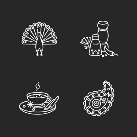 Indian culture chalk white icons set on black background. National animal. Peacock. Traditional cuisine. Masala chai. Paisley pattern. Spices and herbs. Food flavorings. Isolated vector chalkboard