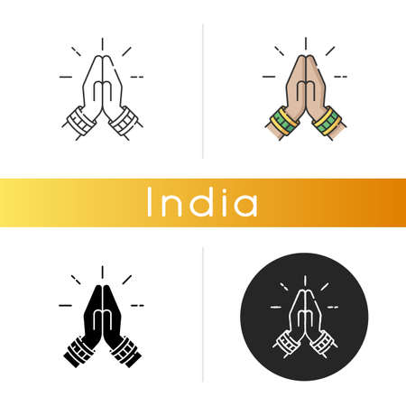 Namaste icon. Hindu greeting. Hands pressed together. Respectful salutation. Anjali Mudra. Praying hands. Indian religion. Linear black and RGB color styles. Isolated vector illustrations  イラスト・ベクター素材