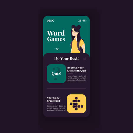 Online word games smartphone interface vector template. Mobile app page green and blue design layout. Daily language quizzes screen. Flat UI for application. Improve vocabulary. Phone display Illustration