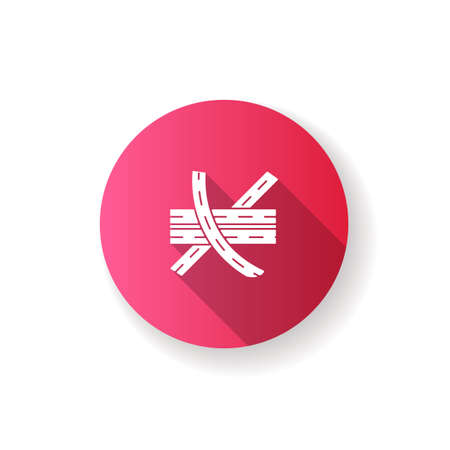 Multi level junction pink flat design long shadow glyph icon. Highway system. Multiple tarmac roads. Drive on crossroad. Route for transport. Roadway direction. Silhouette RGB color illustration