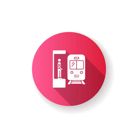 Subway pink flat design long shadow glyph icon. Railway station. Platform for passenger to wait for metro train. Public commuter. Urban infrastructure. Silhouette RGB color illustration