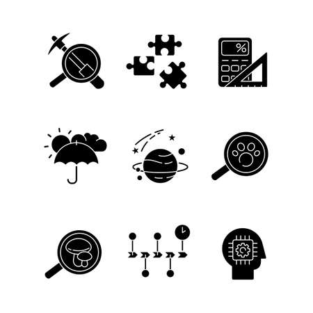 Scientific fields black glyph icons set on white space. Different branches of formal and natural science silhouette symbols. Fundamental disciplines, fields of study. Vector isolated illustration