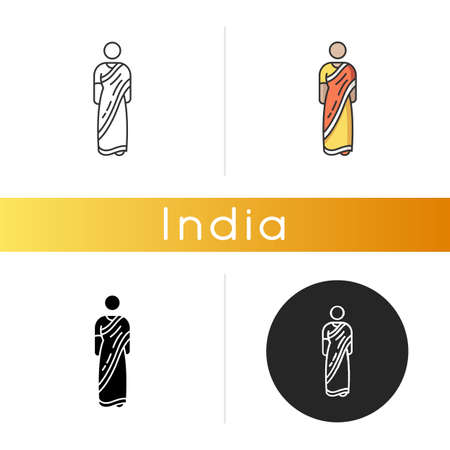 Sari icon. Traditional Hindu clothing. National Indian clothes. Womens garment. Ethnic attire. Cultural heritage. Asian person. Linear black and RGB color styles. Isolated vector illustrations