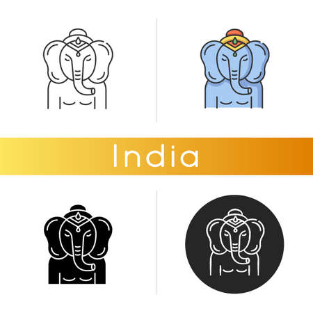 Lord Ganesha icon. Supreme deity in Hindu pantheon. Indian religion. Remover of obstacles. Religious symbol. God of beginnings. Linear black and RGB color styles. Isolated vector illustrations Çizim