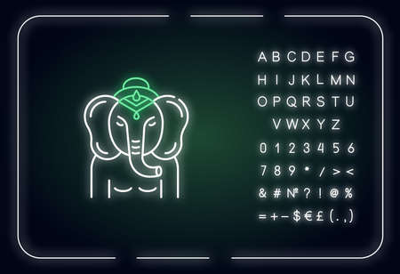 Lord Ganesha neon light icon. Supreme deity in Hindu pantheon. Indian religion. Ancient tradition. Outer glowing effect. Sign with alphabet, numbers and symbols. Vector isolated RGB color illustration Çizim