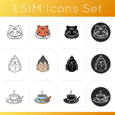 Indian culture icons set. National animal. Bengal tiger. Gautama Buddha. Religious leader. Founder of Buddhism. Masala chai. Linear, black and RGB color styles. Isolated vector illustrations