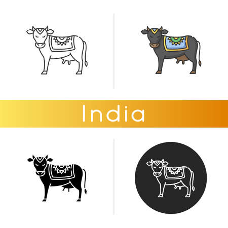 Holy cow icon. Sacred animal. Religious symbol of India. Indian culture. Spiritual values of Hindus. Agriculture, dairy industry. Linear black and RGB color styles. Isolated vector illustrations