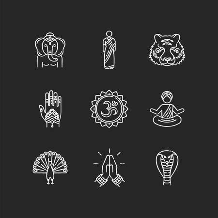 Indian spiritual symbols chalk white icons set on black background. Om sound representation. Yoga practitioner. Namaste gesture. Ganesha. Henna body art. Traditional sari.Isolated vector chalkboard Çizim