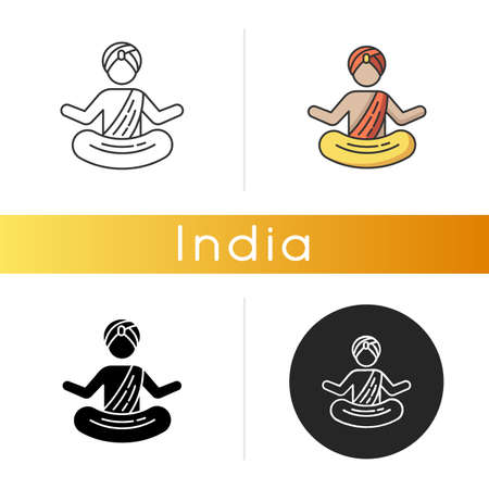 Yogi in turban icon. Practitioner of yoga. Physical and mental practices. Meditating monk. Man in lotus pose. Spiritual discipline. Linear black and RGB color styles. Isolated vector illustrations