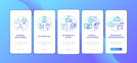 Unhealthy nutrition habits onboarding mobile app page screen with concepts. Eating when sad and multitasking walkthrough 5 steps graphic instructions. UI vector template with RGB color illustrations