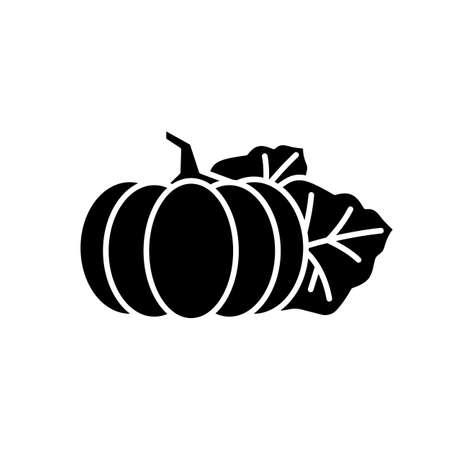Pumpkin black glyph icon. Seasonal fresh vegetable. Nutrient gourd. Ripe whole autumnal veggie. October harvest, vegan salad ingredient. Silhouette symbol on white space. Vector isolated illustration Illustration