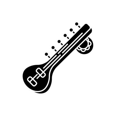 Sitar black glyph icon. Stringed musical instrument. Hindustani classical music. Cultural heritage. Asian entertainment tradition. Silhouette symbol on white space. Vector isolated illustration