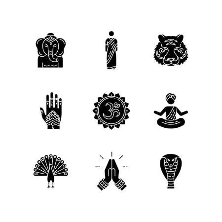 Indian spiritual symbols black glyph icons set on white space. Om sound. Yoga practitioner. Namaste. Lord Ganesha. Henna body art. Traditional sari.Silhouette symbols. Vector isolated illustration Çizim