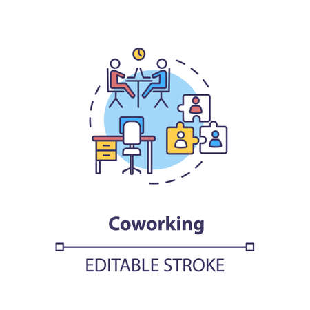Coworking concept icon. Cooperation for startup project. Work space for business partners. Shared workspace idea thin line illustration. Vector isolated outline RGB color drawing. Editable stroke