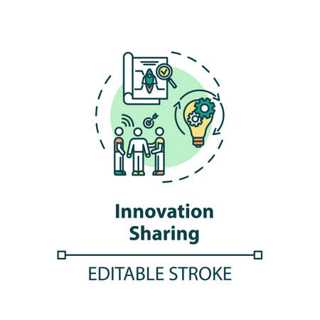 Innovation sharing concept icon. Successful startup. Marketing strategy. Collaborative business project idea thin line illustration. Vector isolated outline RGB color drawing. Editable stroke Ilustracja