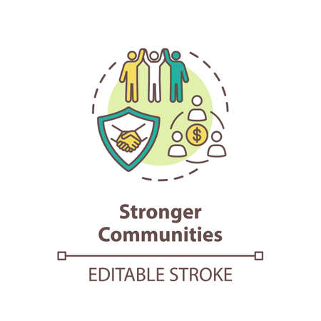 Stronger community concept icon. Cooperation between working colleagues. Unity of people. Successful teamwork idea thin line illustration. Vector isolated outline RGB color drawing. Editable stroke