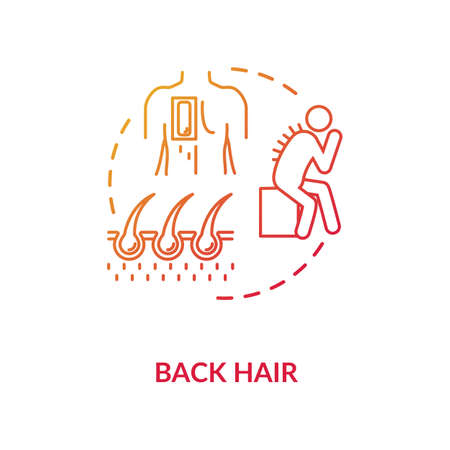 Back hair concept icon. Common male problem, mens healthcare issue idea thin line illustration. Excessive hairiness, hair removal procedure. Vector isolated outline RGB color drawing