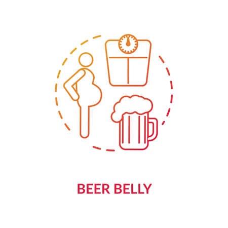 Beer belly concept icon. Common mens health issue, unhealthy lifestyle idea thin line illustration. Excessive weight problem, bad figure. Vector isolated outline RGB color drawing Ilustracja