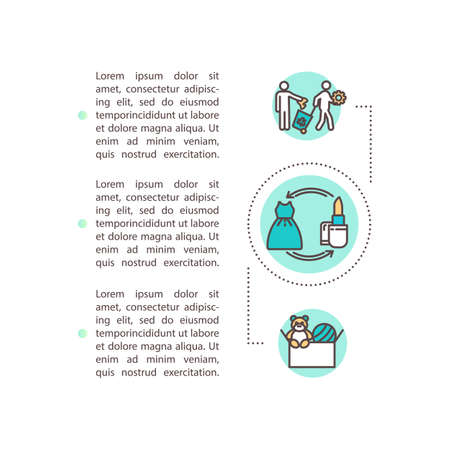 P2P lending concept icon with text. Sharing economy, collaborative consumption. Goods exchange service PPT page vector template. Brochure, magazine, booklet design element with linear illustrations