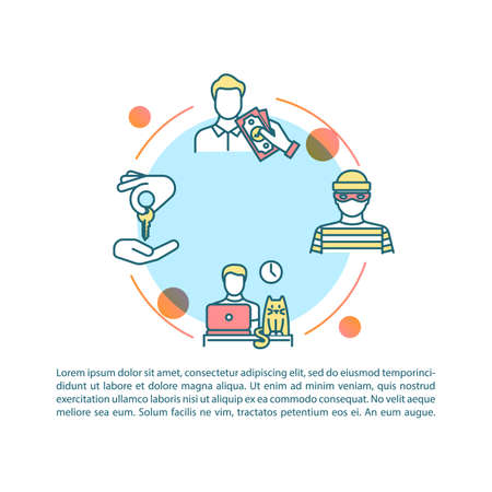 Peer economy risks and benefits concept icon with text. Extra income, work flexibility, privacy concerns. PPT page vector template. Brochure, magazine, booklet design element with linear illustrations