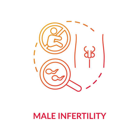 Male infertility concept icon. Mens inability to reproduce idea thin line illustration. Reproductive health problem, semen quality issue. Vector isolated outline RGB color drawing Vettoriali