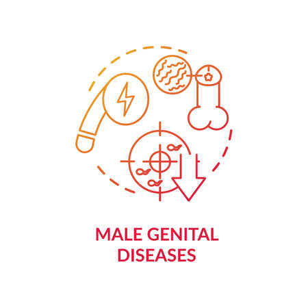 Male genital diseases concept icon. Mens reproductive system illnesses idea thin line illustration. Sexual dysfunction, infertility and STDs. Vector isolated outline RGB color drawing