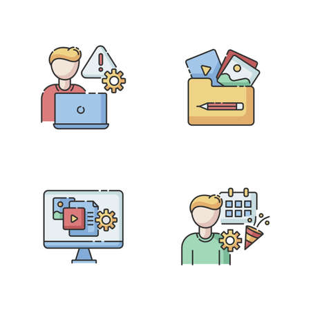 Management RGB color icons set. Crisis management. Visual portfolio. Multimedia gallery. Content manager. Event planner. Party organization. Threat analysis. Isolated vector illustrations Ilustracja