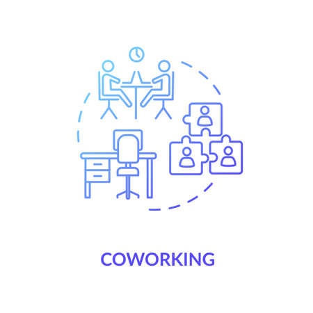 Coworking blue gradient concept icon. Cooperation for startup project. Work space for business partners. Shared workspace idea thin line illustration. Vector isolated outline RGB color drawing Vectores
