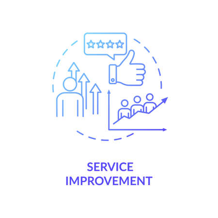 Service improvement blue gradient concept icon. Customer satisfaction level. Sharing economy business model benefit idea thin line illustration. Vector isolated outline RGB color drawing