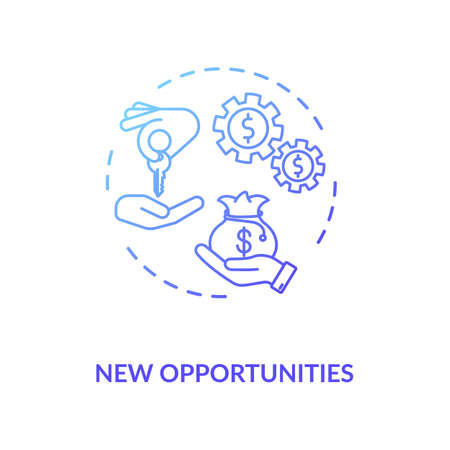 New opportunities blue gradient concept icon. Career challenge. Startup, entrepreneurship. Sharing economy. Business project idea thin line illustration. Vector isolated outline RGB color drawing