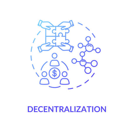 Decentralization blue gradient concept icon. Business model of sharing economy. Blockchain system. Collaborative consumption idea thin line illustration. Vector isolated outline RGB color drawing